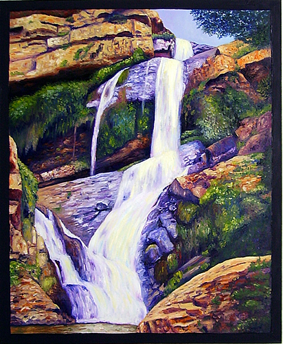 landscape oil painting of waterfall at walter sisulu national botanical gardens