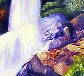 detail of landscape painting of waterfall