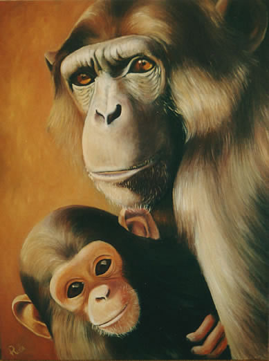 african wildlife painting of chimpanzee