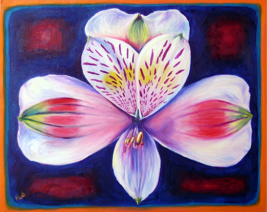 original oil painting of an inca lilly