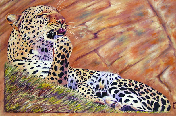 original oil painting of leopard