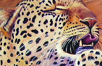 detail of leopard oil painting